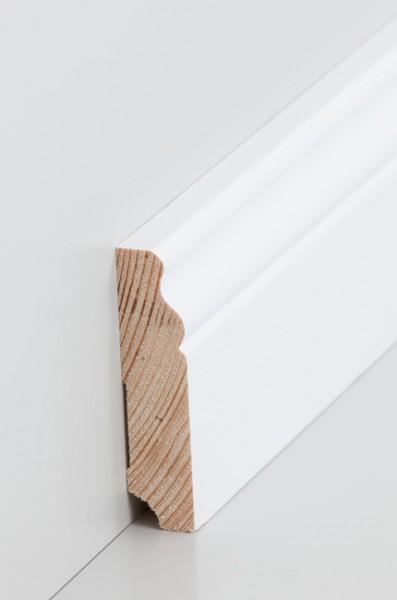 Hamburgerleiste Massivholz 19x80mm deckend weiß (RAL 9016) lackiert