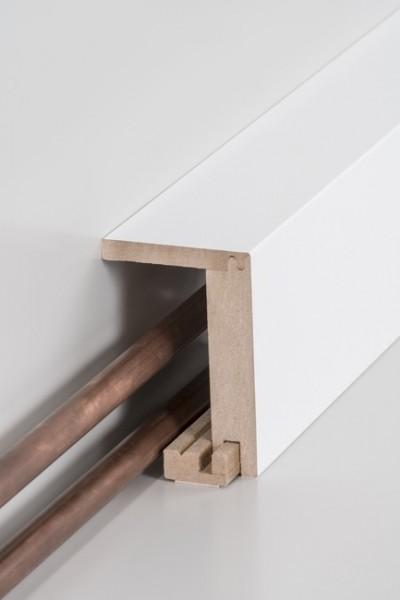 Rohrabdeckleiste (einteilig) 64 x 96 x 2500 mm, Innenmaß: 45 x 88 mm, Oberkante rechteckigMDF-Kern