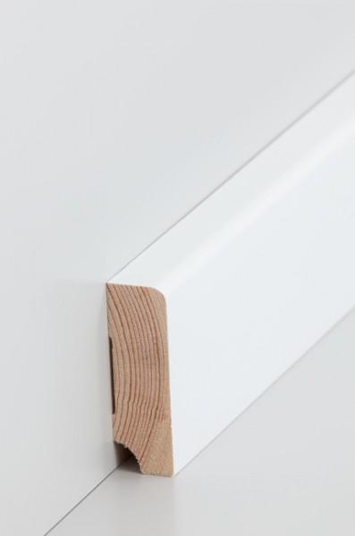 Massivholz Holzsockelleiste, Oberkante abgerundet 19x60mm Kiefer deckend weiß (RAL 9016) lackiert