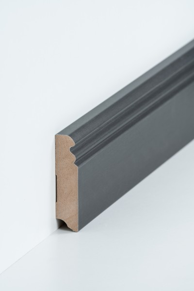 Hamburgerleiste Titan 19 x 80 mm Sockelleiste, MDF-Kern mit Metallicfolie ummantelt