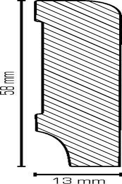 Sockelleiste, Oberkante abgerundet, MDF-Kern mit lackierfähiger Folie ummantelt 1,3 x 58 mm, Länge: