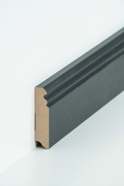 Hamburgerleiste Stahl dunkel 19 x 80 mm Sockelleiste, MDF-Kern mit Metallicfolie ummantelt