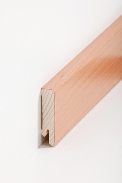 Holzsockelleiste, 16x60mm Holzkern mit Echtholz Furnier Buche gedämpft