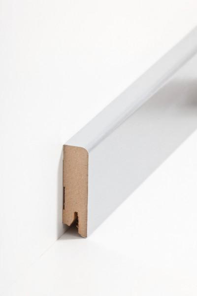 Sockelleiste Oberkante abgerundet, 16 x 58 x 2500 mm, Aluminium MDF-Kern, Metalicfolie ummantelt