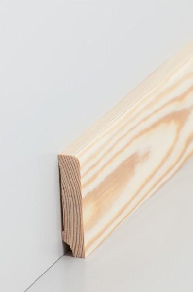 Massivholz Holzsockelleiste, Oberkante abgerundet 1,3x60mm Kiefer roh