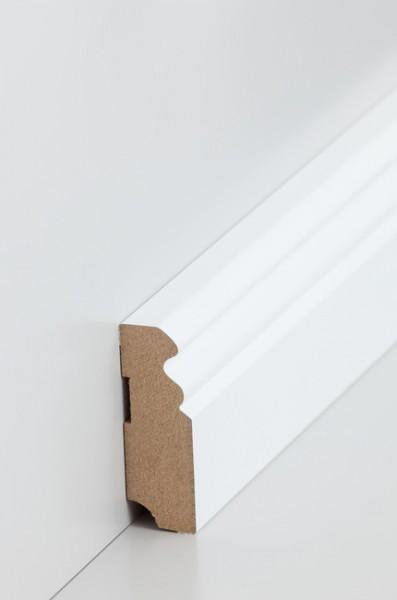 Hamburgerleiste Weiß 19 x 58 mm Sockelleiste, MDF-Kern mit lackierfähiger Folie ummantelt