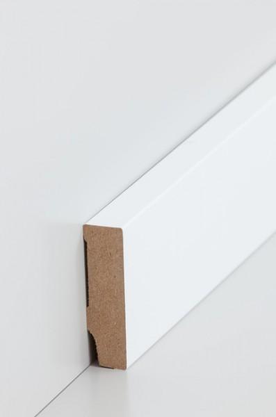 Sockelleiste, Oberkante rechteckig, MDF-Kern mit lackierfähiger Folie ummantelt 16 x 58 mm, Länge: