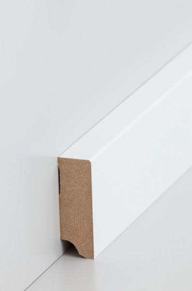 Sockelleiste, Oberkante rechteckig, MDF-Kern mit lackierfähiger Folie ummantelt, 19 x 58 mm, Länge: