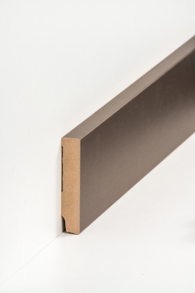 Sockelleiste 16 x 80 mm Bronze, Oberkante rechteckig, MDF-Kern mit Metallicfolie ummantelt