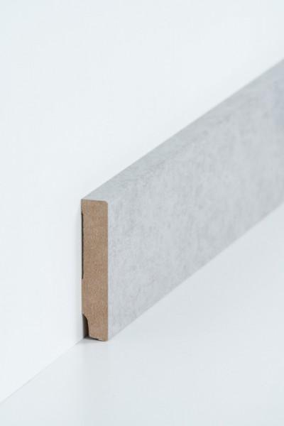 Sockelleiste 16 x 80 mm Beton, Oberkante rechteckig, MDF-Kern mit Dekorfolie ummantelt
