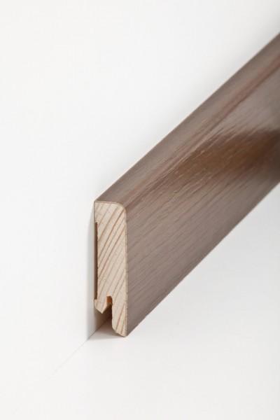 Holzsockelleiste, 16x60mm Holzkern mit Echtholz Furnier Räuchereiche