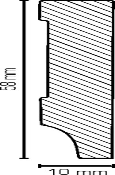 Sockelleiste, Oberkante rechteckig, MDF-Kern mit lackierfähiger Folie ummantelt, 10 x 58 mm, Länge: