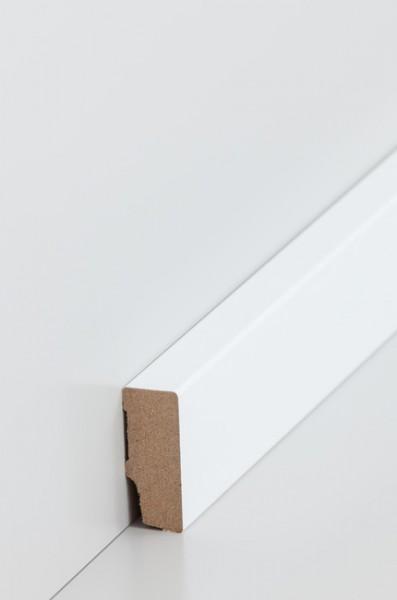 Sockelleiste, Oberkante rechteckig, MDF-Kern mit lackierfähiger Folie ummantelt 16 x 40 mm, Länge: