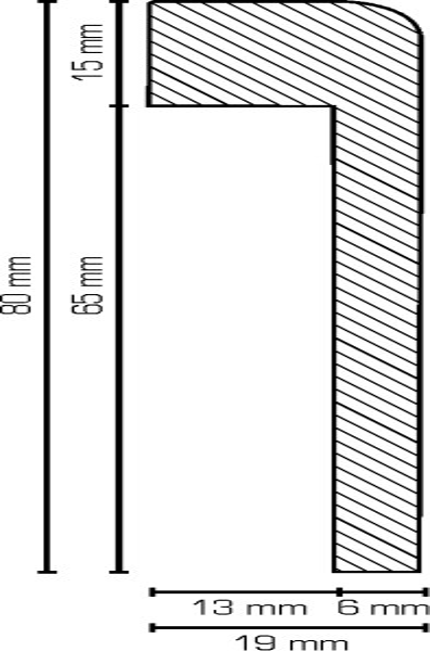 Abdeckleiste Weiß 19 x 85 mm, Innenmaß: 1,3 x 65 mm MDF lackierfähiger Folie ummantelt