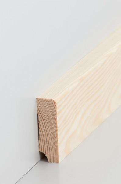 Massivholz Holzsockelleiste, Oberkante abgerundet 19x60mm Kiefer roh
