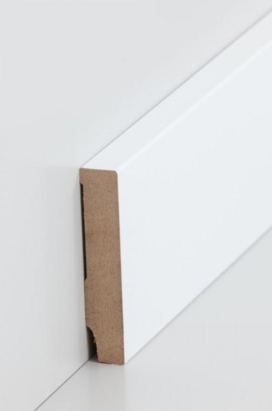 Sockelleiste, Oberkante rechteckig, MDF-Kern mit lackierfähiger Folie ummantelt 16 x 80 mm, Länge: