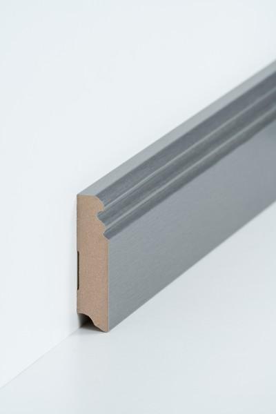 Hamburgerleiste Edelstahl 19 x 80 mm, Oberkante profiliert, MDF-Kern mit Metallicfolie ummantelt
