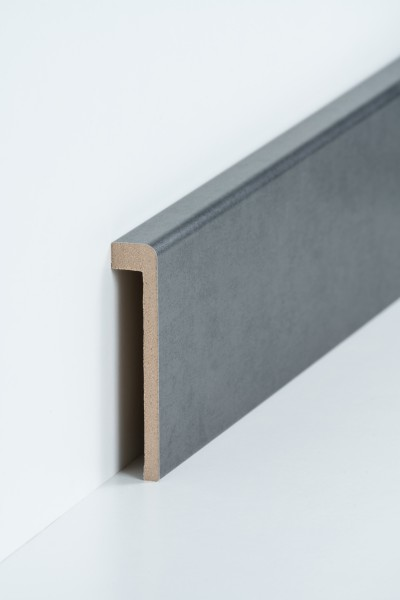 Abdeckleiste Stahl natur für Fliesensockel, 19 x 96 mm (1,3 x 85 mm), MDF-Kern Metallicfolie