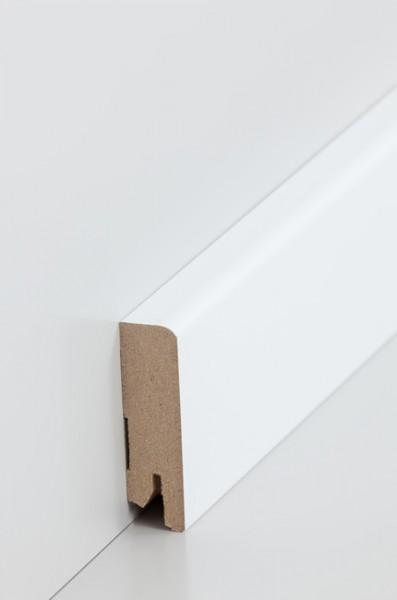 Sockelleiste Oberkante abgerundet, 16 x 58 x 2500 mm, Weiß MDF-Kern, lackierfähiger Folie ummantelt