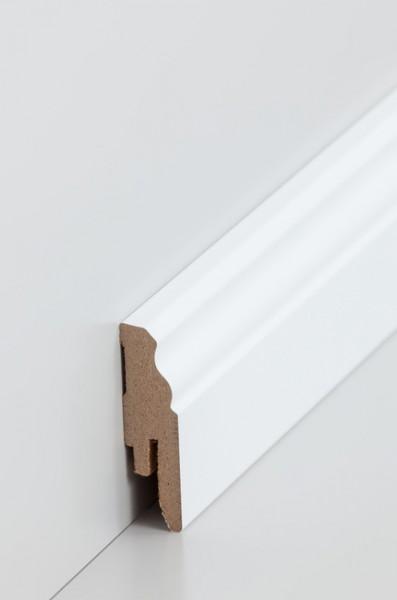 Hamburgerleiste Weiß 16 x 58 Sockelleiste, MDF-Kern mit lackierfähiger Folie ummantelt,