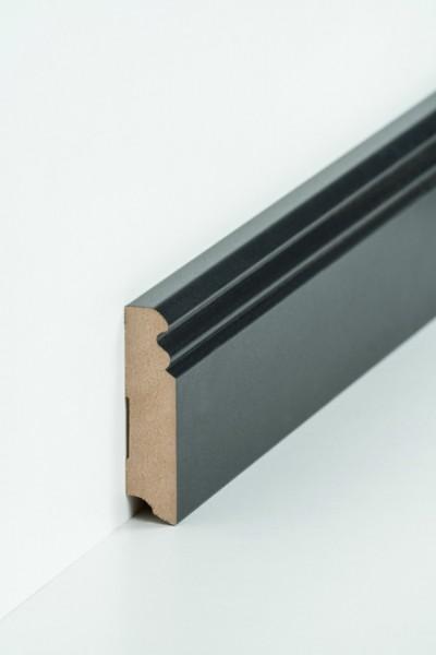 Hamburgerleiste Schwarz 19 x 80 mm Sockelleiste, MDF-Kern mit Metallicfolie ummantel