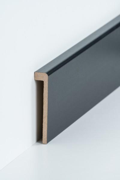 Abdeckleiste Schwarz für Fliesensockel, 19 x 96 mm (1,3 x 85 mm), MDF-Kern mit Dekorfolie ummantelt