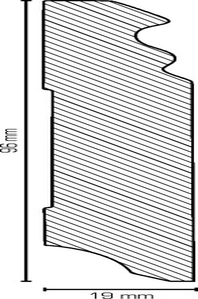 Hamburgerleiste Weiß 19 x 96 mm Sockelleisten, MDF-Kern mit lackierfähiger Folie ummantelt