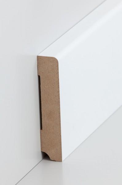 Sockelleiste, Oberkante abgerundet, MDF-Kern mit lackierfähiger Folie ummantelt, 19 x 96 mm, Länge: