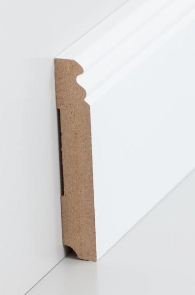 Hamburgerleiste Weiß 19 x 115 mm Sockelleiste, MDF-Kern mit lackierfähiger Folie ummantelt