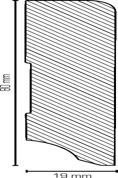 Sockelleiste, Oberkante abgerundet, MDF-Kern mit lackierfähiger Folie ummantelt, 19 x 80 mm, Länge: