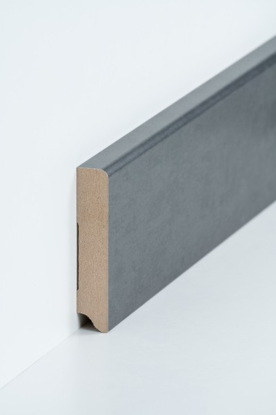 Sockelleiste 19 x 96 mm Stahl natur, Oberkante abgerundet, MDF-Kern Metallicfolie ummantelt