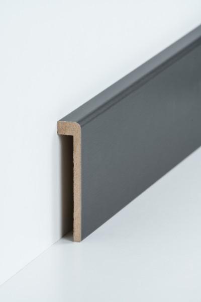 Abdeckleiste Titan Fliesensockel, 19 x 96 mm (1,3 x 85 mm), MDF-Kern mit Metallicfolie ummantelt