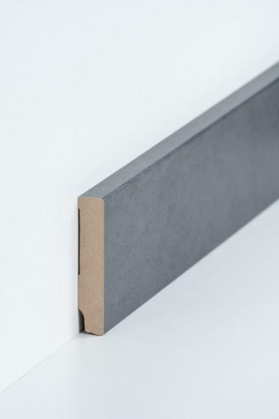 Sockelleiste 16 x 80 mm Stahl natur Oberkante rechteckig, MDF-Kern mit Metallicfolie ummantelt