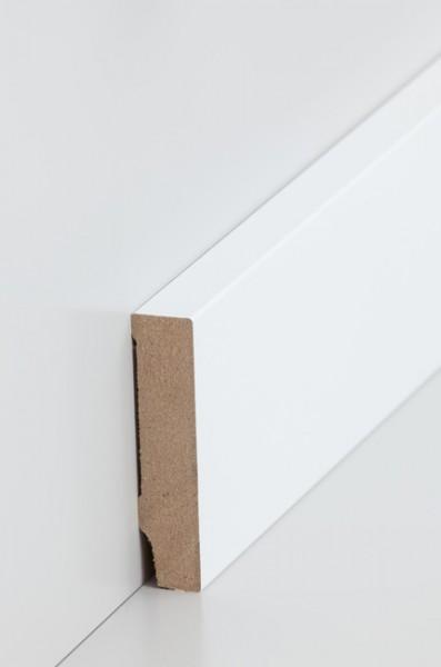 Sockelleiste, Oberkante rechteckig, MDF-Kern mit lackierfähiger Folie ummantelt 16 x 70 mm, Länge: