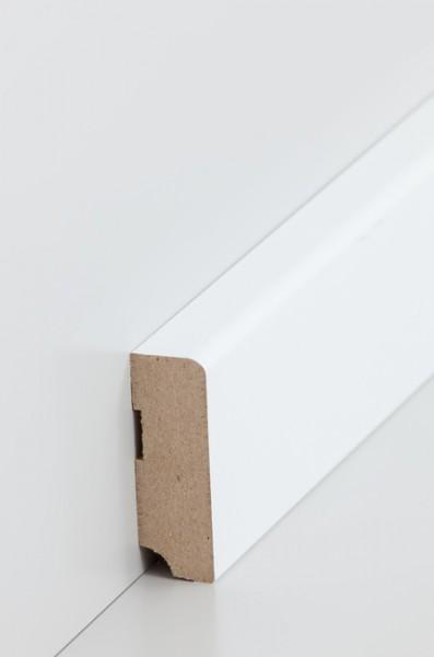 Sockelleiste, Oberkante abgerundet, MDF-Kern mit lackierfähiger Folie ummantelt, 19 x 58 mm, Länge: