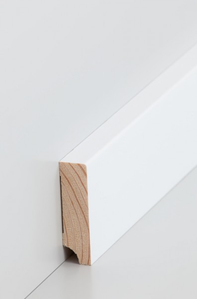Holzsockelleiste, Oberkante rechteckig 16x60mm Kiefer deckend weiß (RAL 9016) lackiert