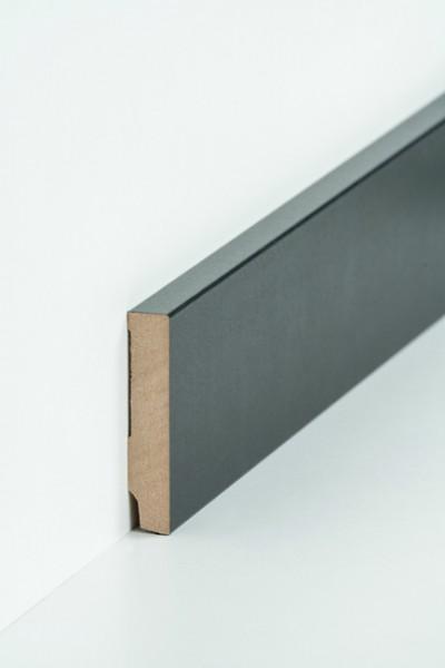Sockelleiste 16 x 80 mm Schwarz, Oberkante rechteckig, MDF-Kern mit Dekorfolie ummantelt