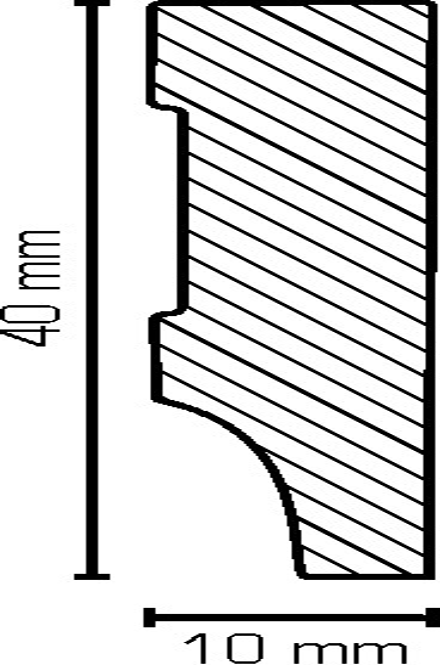 Sockelleiste, Oberkante rechteckig, MDF-Kern mit lackierfähiger Folie ummantelt 10 x 40 mm, Länge: