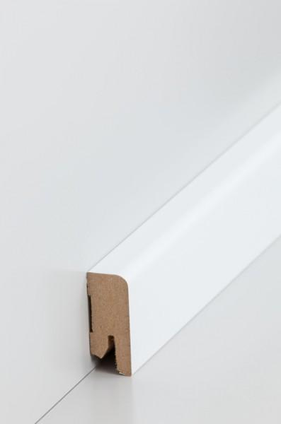 Sockelleiste Oberkante abgerundet, 16 x 40 x 2500 mm, Weiß MDF-Kern, lackierfähiger Folie ummantelt